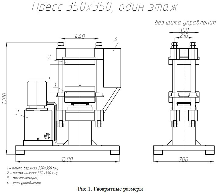 Габаритные размеры пресса 350х350 (1 этаж)
