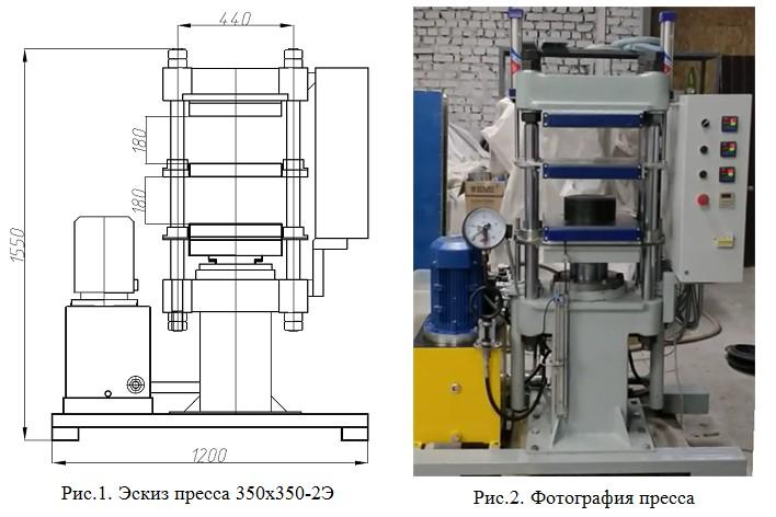 Гидравлический пресс для вулканизации РТИ 350х350 - 2 этажа